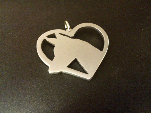 pharaoh hound in your heart pendant sterling silver handmade by saw piercing Caroline Howlett Design